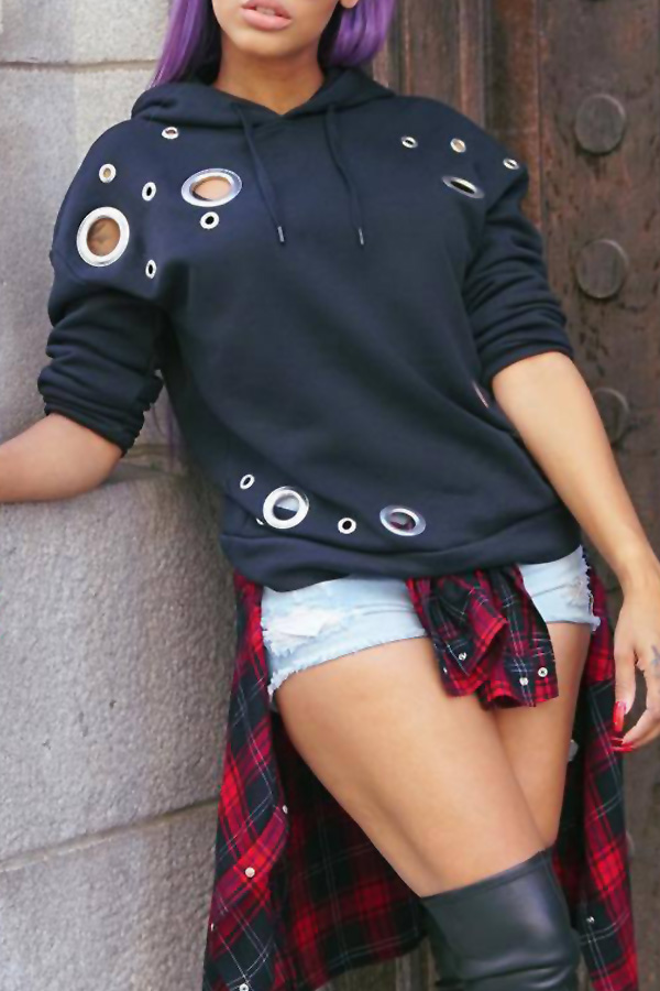 Leisure Long Sleeves Hollow-out Black Polyester Hoodies
