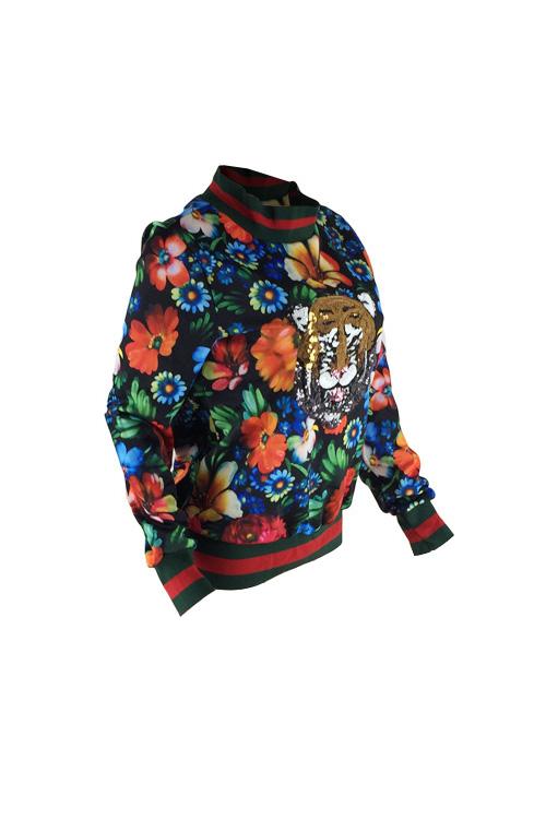 Freizeit-Rundhalsausschnitt Floral Bedruckte Polyester-Pullover