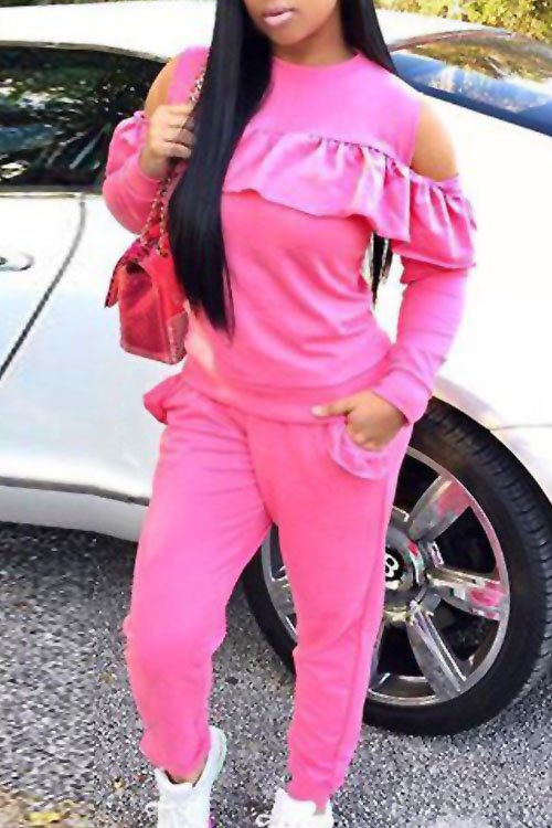 Casual Round Neck Dew Shoulder Ruffle Design Pink Blending Two-piece Pants Set