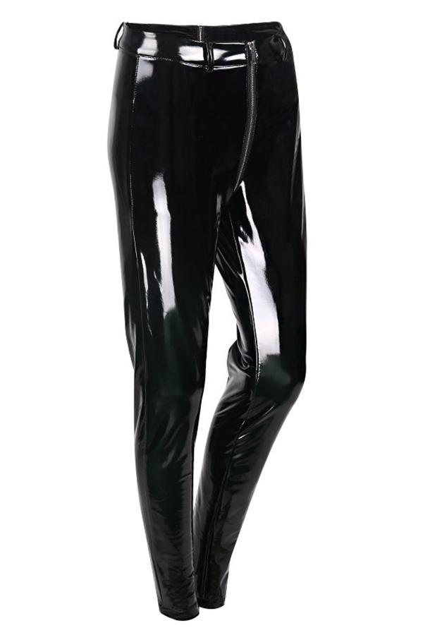 Euramerican Hohe Taille Reißverschluss Design Schwarze Lederhose (ohne Zubehör)