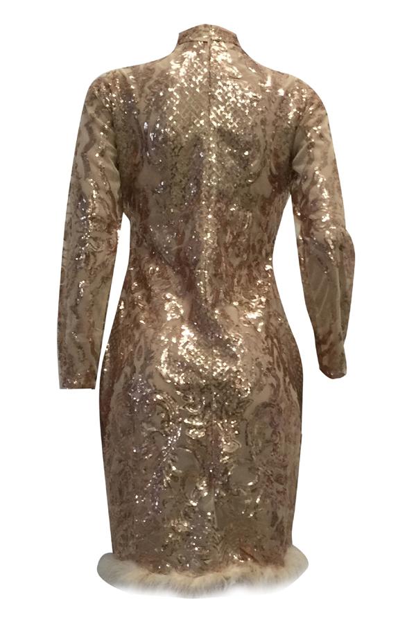 Pescoço Profundo E Pesado Com Decote Em Forma De Arco De Ouro Rosa Com Bainha De Poliéster Vestido De Joelho