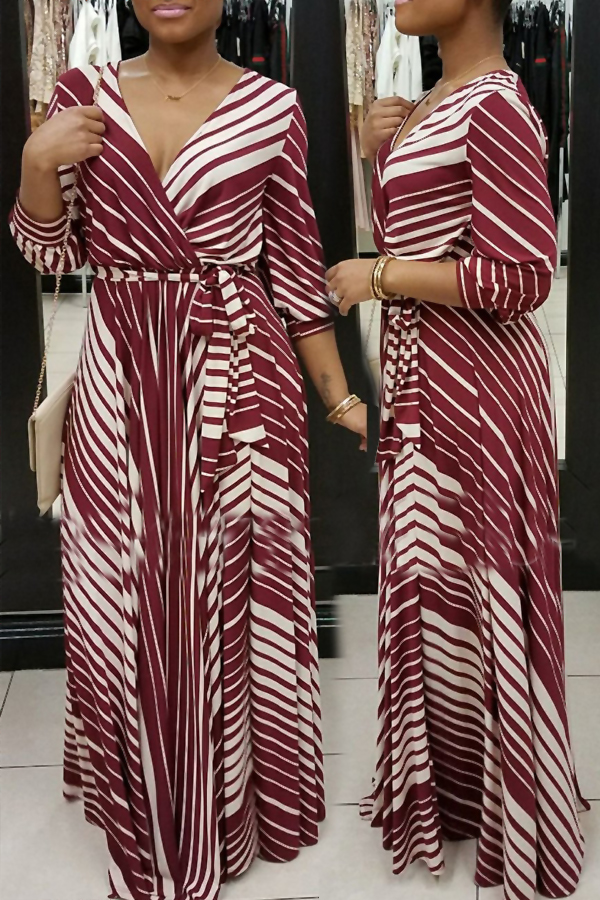Causal V Neck Stripe Printed Wine Red Healthy Fabric Ankle Length Dress