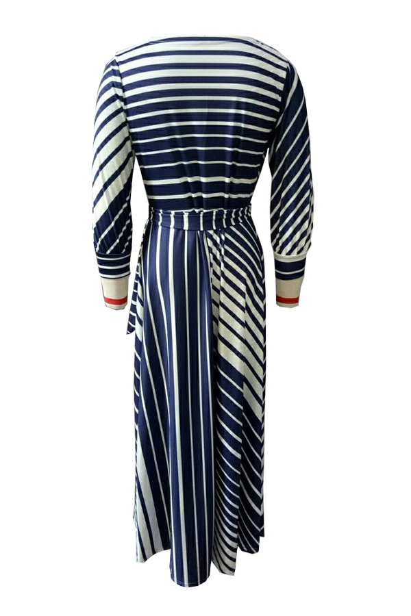 Causal V Neck Stripe Printed Blue Healthy Fabric Ankle Length Dress(Without Necklace)