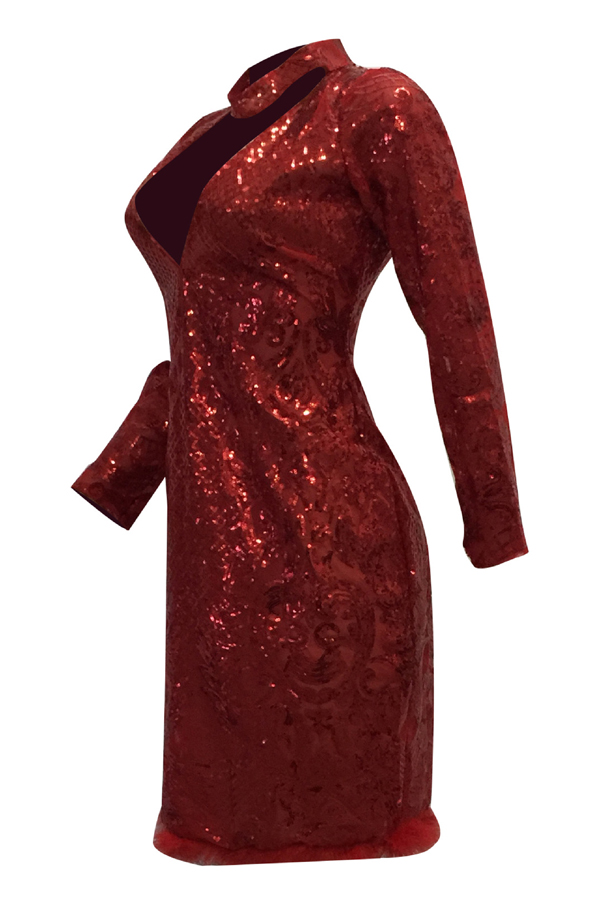 Sexy Deep V Neck See-Through Red Polyester Sheath Knee Length Dress