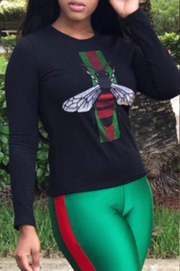 Camiseta Informal De Cuello Redondo Estampada En Poliéster Negro