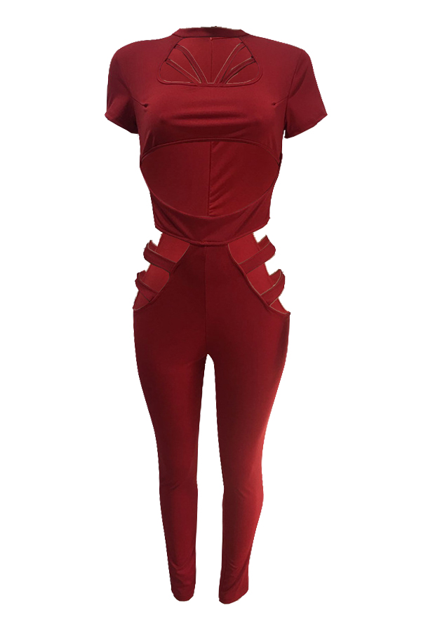 Sexy Round Neck Hollow-out Red Polyester One-piece Jumpsuits