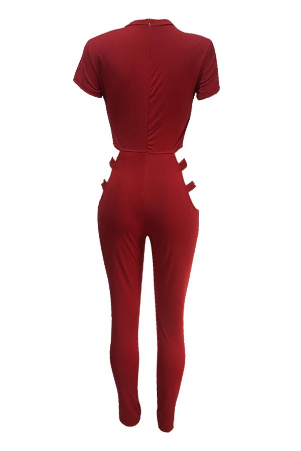 Sexy de cuello redondo ahueca hacia fuera los trajes de una pieza de poliéster rojo