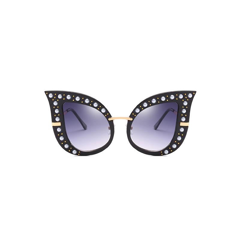 Moda Perla Decoración Negro PC Gafas De Sol