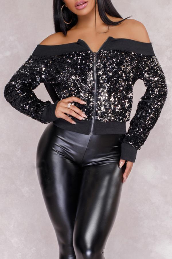 Sexy Bateau Neck Sequins Decoration Black Polyester Short Coat