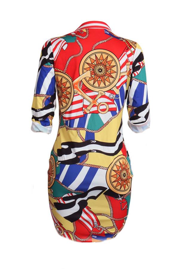 Модный отворотный воротник с напечатанным мини-платьем из натуральной ткани (без пояса)