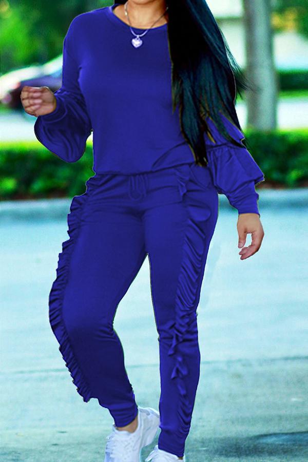 Conjunto De Pantalones De Dos Piezas De Mezcla De Color Azul Redondo Y Acanalado De Moda