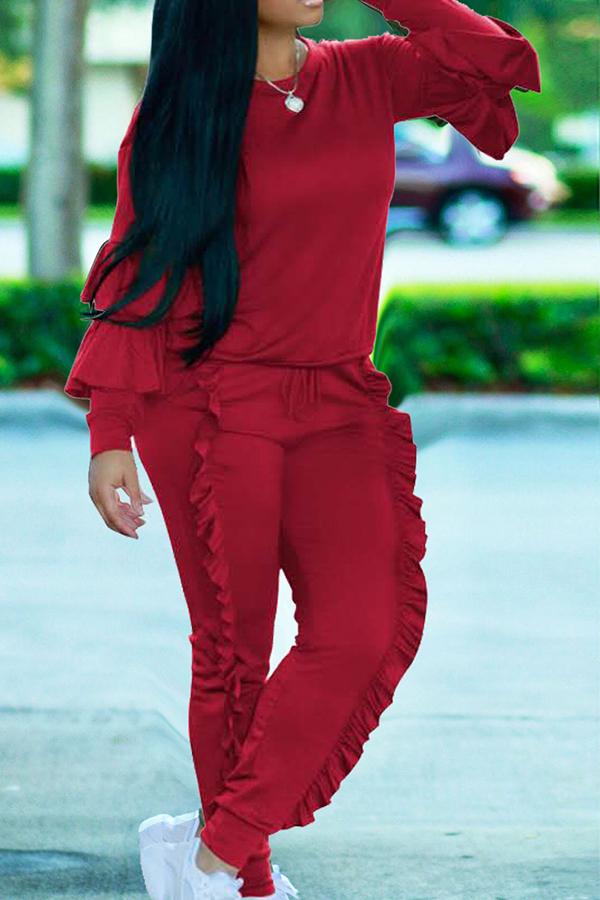 Conjunto De Pantalones De Dos Piezas De Mezcla Dorada Y Cuello Redondo Elegante De Moda