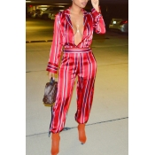 Euramerican Deep V Neck Striped Red Polyester One-piece Jumpsuits