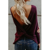 Sexy Round Neck Backless Red Polyester T-shirt