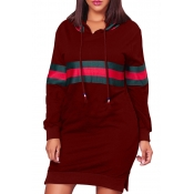 Leisure Hooded Collar Patchwork Wine Red Polyester Mini Dress