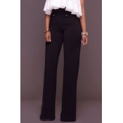 Euramerican High Waist Button Decorative Black Polyester Pants