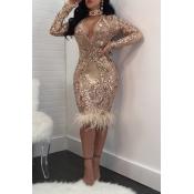 Сексуальная Глубокая V Шея Прозрачная Розовое Золото Полиэстер Оболочка Колено Длина Платье
