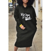 Casual Hooded Collar Letters Printed Black Polyester Mid Calf Dress
