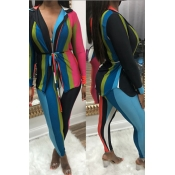 Sexy Turndown Collar Colorful Striped Qmilch Two-piece Pants Set