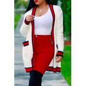 Euramerican Long Sleeves Striped White Polyester L