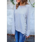 Lovely Leisure Round Neck Lace-up Grey Blending Sw