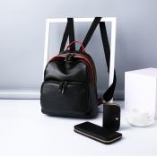 Fashion Zipper Design Black PU Backpacks