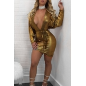 Sexy Deep V Neck Back Hollow-out Gold Polyester Mini Dress(Without Necklet)