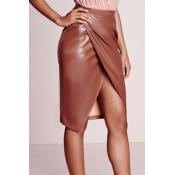 Trendy High Waist Front Split Coffee Leather Knee Length Skirts