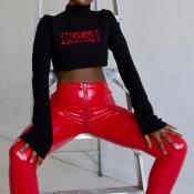 Euramerican High Waist Zipper Design Calças De Couro Vermelho