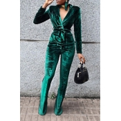 Fashion Turndown Collar Drawstring Green Velvet Two-Piece Pants Set(Without Accessories)
