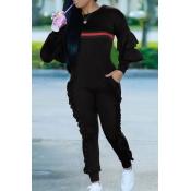 Leisure Round Neck Ruffles Patchwork Black Polyester One-piece Jumpsuits