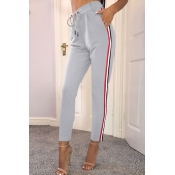 Euramerican High Waist Striped Patchwork Grey Poly