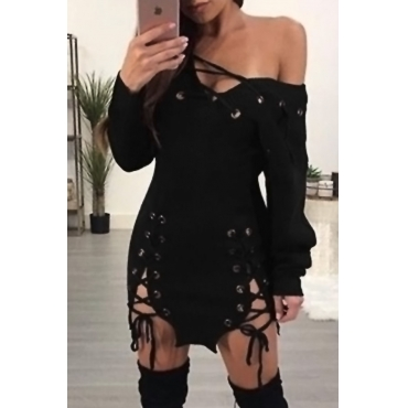 Sexy V Neck Lace-up Hollow-out Black Polyester Mini Dress