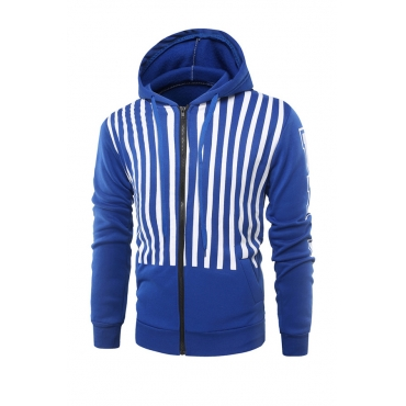 Fashionable Hooded Collar Striped Blue Cotton Blends Hoodie for men