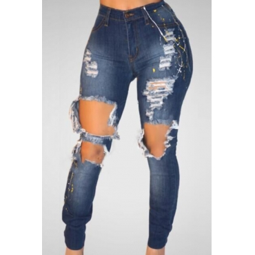 Trendy High Waist Broken Holes Blue Denim Pants