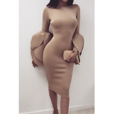 Sexy Round Neck Petal Sleeves Camel Polyester Knee Length Dress