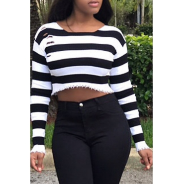 Sexy Round Neck Striped White Polyester Brief Paragraph T-shirt