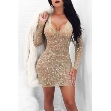 Euramerican U Neck See-Through Sequined Decorative Khaki Gauze Mini Dress