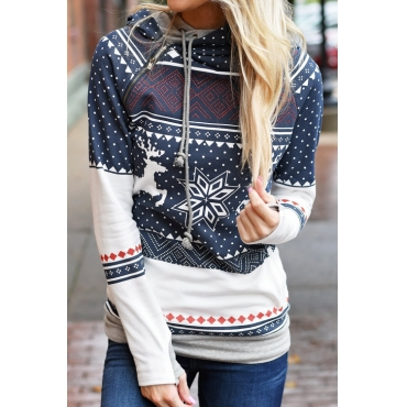 Lovely Euramerican Long Sleeves Printed Navy Blue Cotton Blends Pullovers