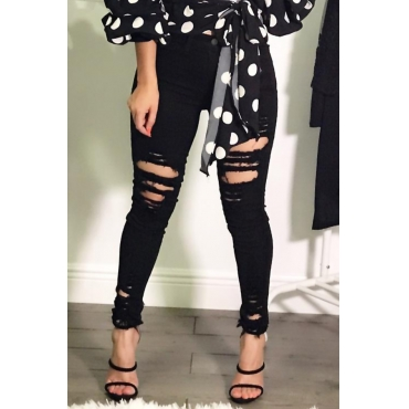 Trendy High Waist Broken Holes Black Denim Jeans