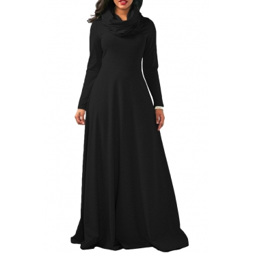 Casual Heaps Collar Long Sleeves Black Cotton Ankle Length Dress