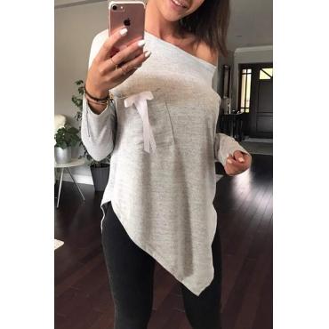 Sexy Skew Collar Irregular Hems Grey Polyester T-shirt