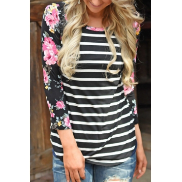 Lovely Euramerican Round Neck Striped Patchwork Black Polyester T-shirt