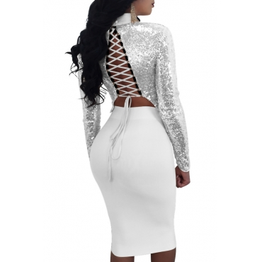 Sexy Mandarin Collar Lace-up Hollow-out Silver Polyester Two-piece Skirt Set(Double Side Wear)