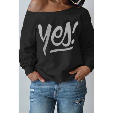 Sexy Dew Shoulder Letters Printing Black Polyester Hoodies