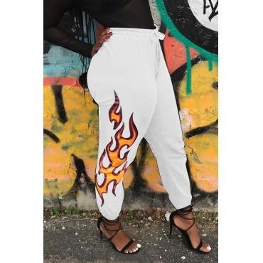 Euramerican High Waist Offset Printing Design White Twilled Satin Pants
