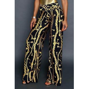 Euramerican High Waist Chains Printed Black Polyester Pants