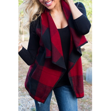 Lovely Euramerican Turndown Collar Plaids Red Blending Waistcoats