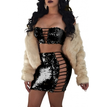 Sexy Strapless Hollow-out Black Polyester Two-piece Skirt Set(Without Coat)