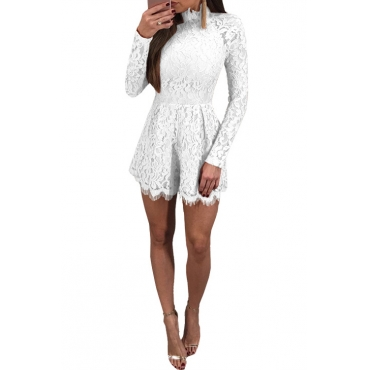 Sexy Mandarin Collar Lace-up Hollow-out White Bud Silk One-piece Jumpsuits